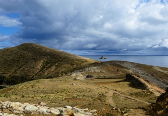 The sacred site of Chincana, with the Titicaca Rock towards the right