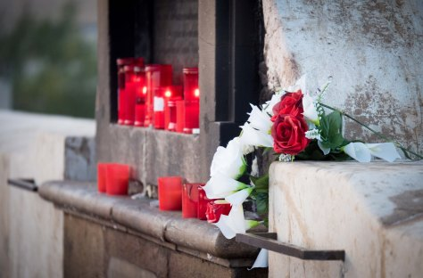 Flowers and Candles to the Virgin Mary